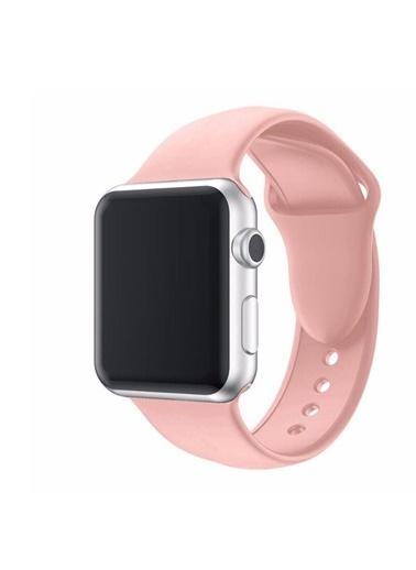 Techmaster Techmaster Apple Watch 2 3 4 5 Seri 42mm ve 44mm Silikon Kordon Pembe